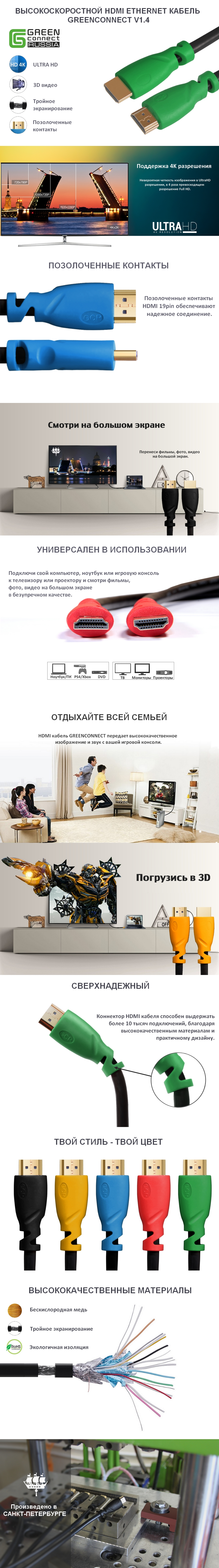 Кабель HDMI v1.4 GCR для PS4 24K GOLD Full HD 4K
