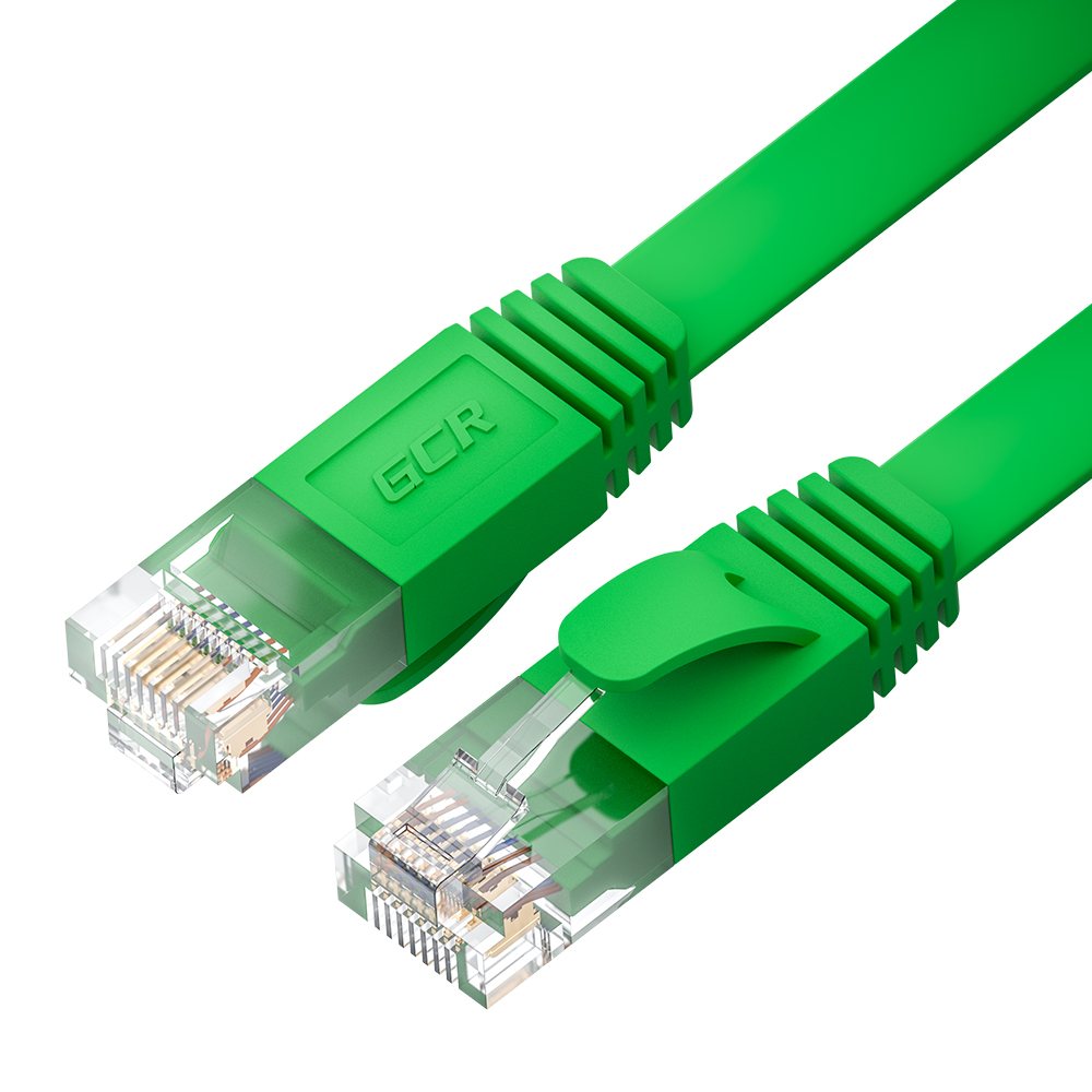 Патч-корд UTP для интернета GCR PROF кат 6 ethernet high speed 10 Гбит/с плоский